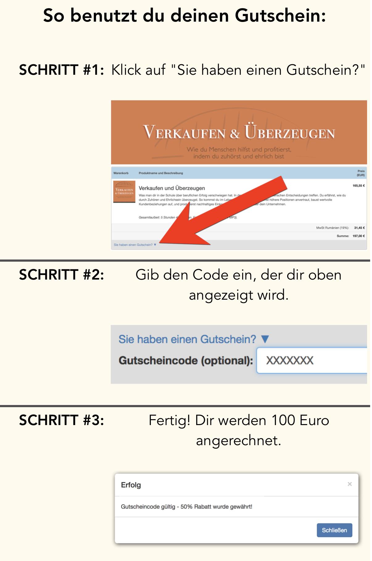 Gutscheincode eingeben und 100 Euro sparen!